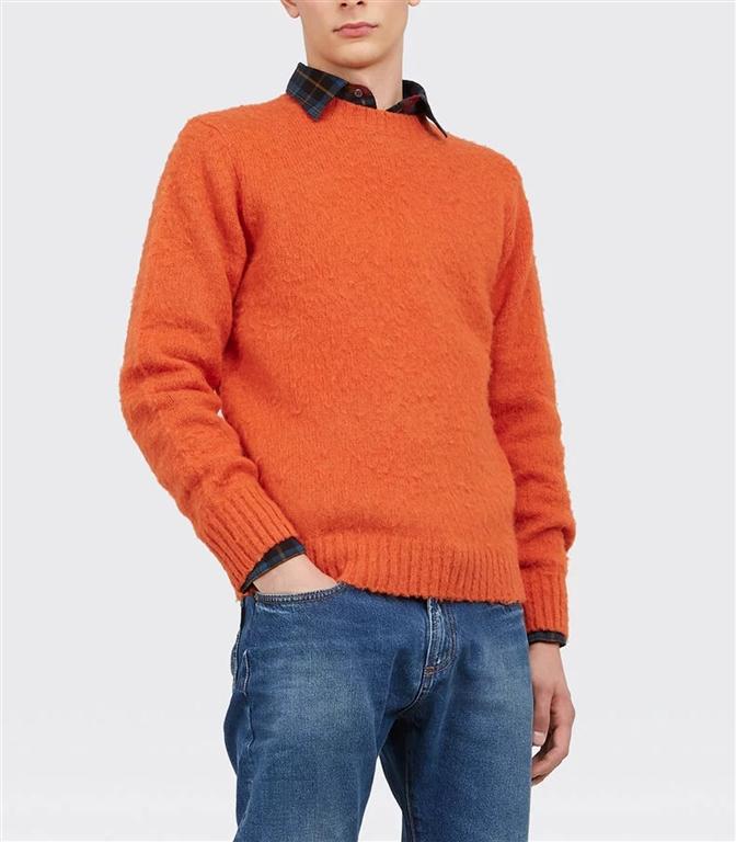 Aspesi - Maglie - maglia girocollo in lana shetland garzata arancio 1