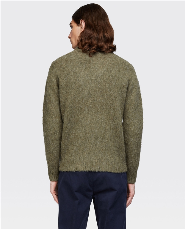 Aspesi - Maglie - maglia girocollo in lana shetland garzata muschio 1