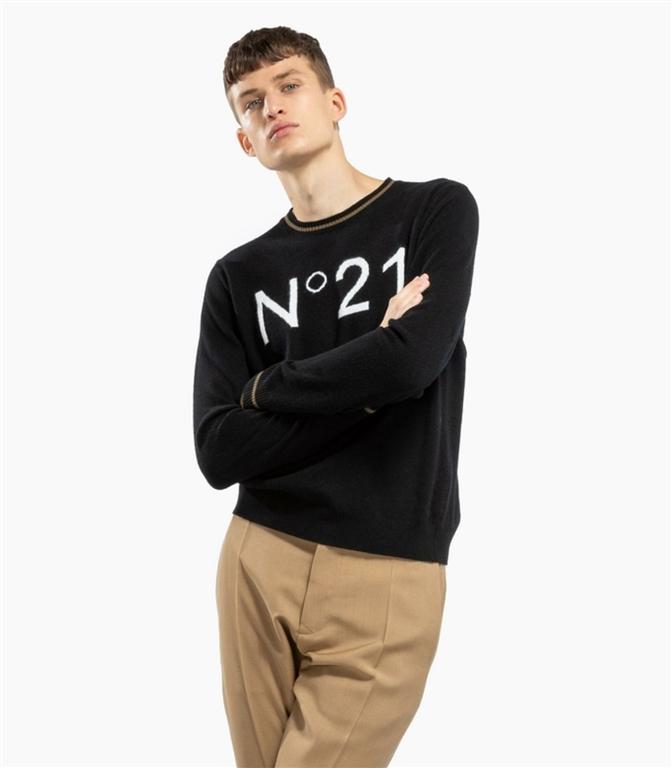 N°21 - Maglie - maglione girocollo con logo black 1