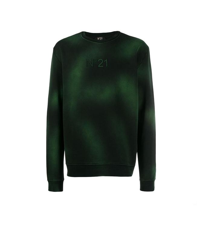 N°21 - Felpe - felpa girocollo con logo green/black