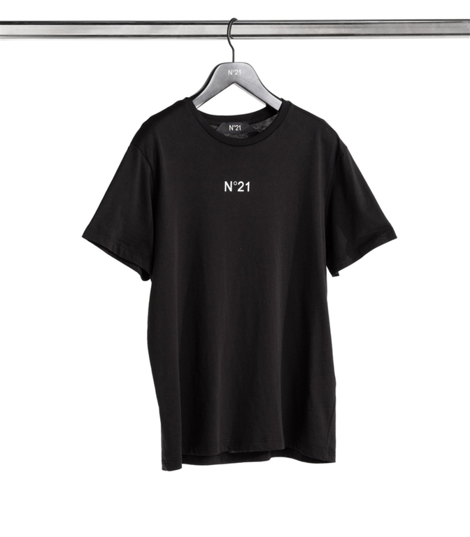 N°21 - T-Shirt - t-shirt girocollo con stampa logo black 1