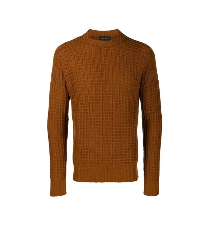 Roberto Collina - Maglie - waffle vanisé sweater cognac