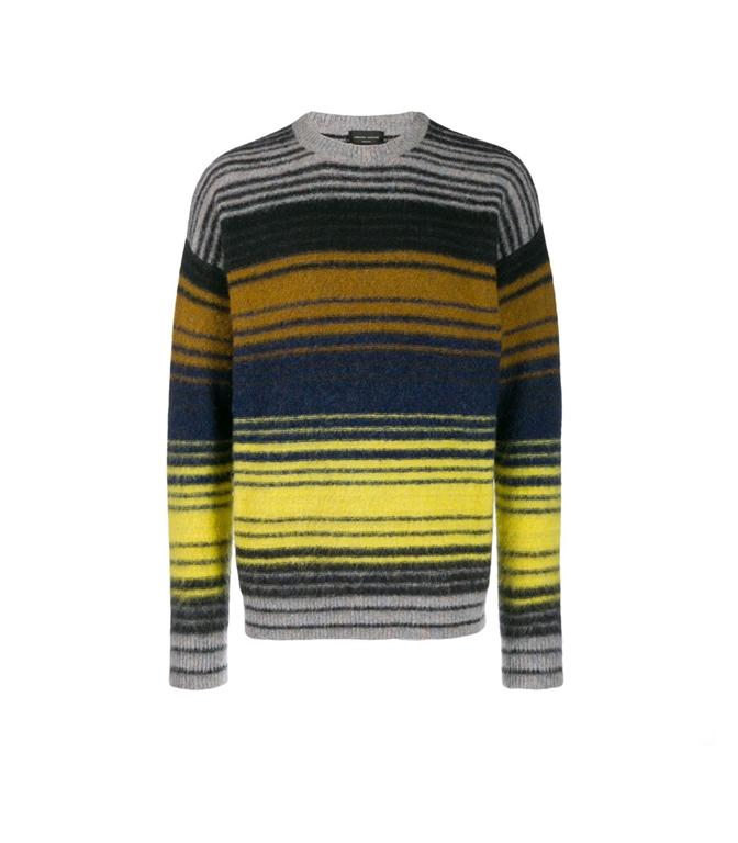 Roberto Collina - Maglie - striped multicolor sweater grigio/blu/giallo