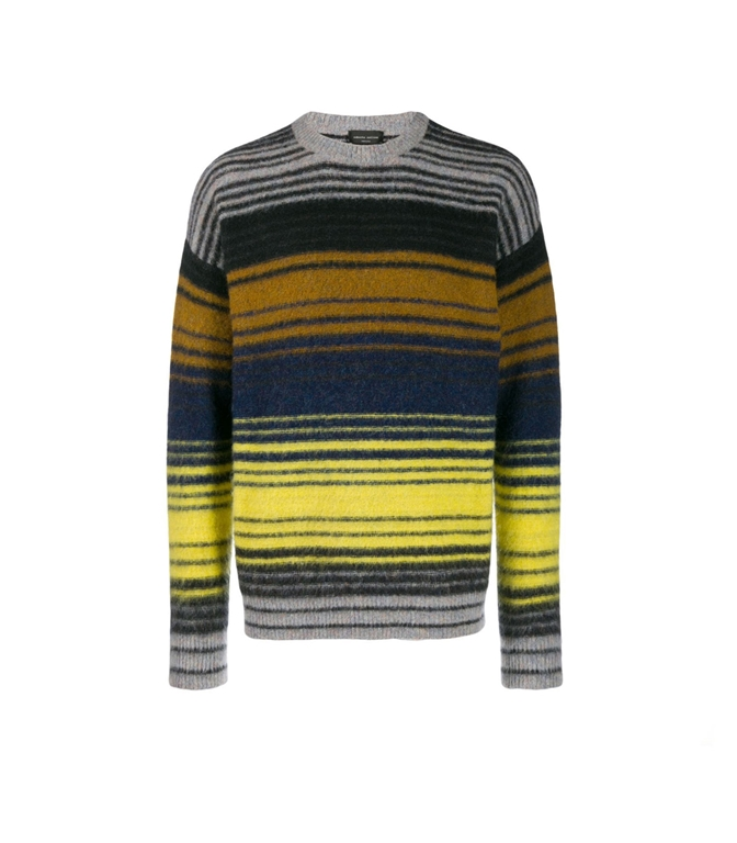 Roberto Collina - Maglie - striped multicolor sweater grigio/blu/giallo