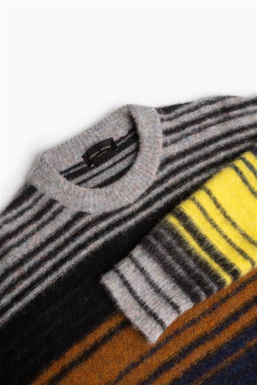 Roberto Collina - Maglie - striped multicolor sweater grigio/blu/giallo 1