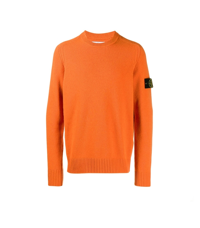 Stone Island - Maglie - maglia in lana girocollo arancio