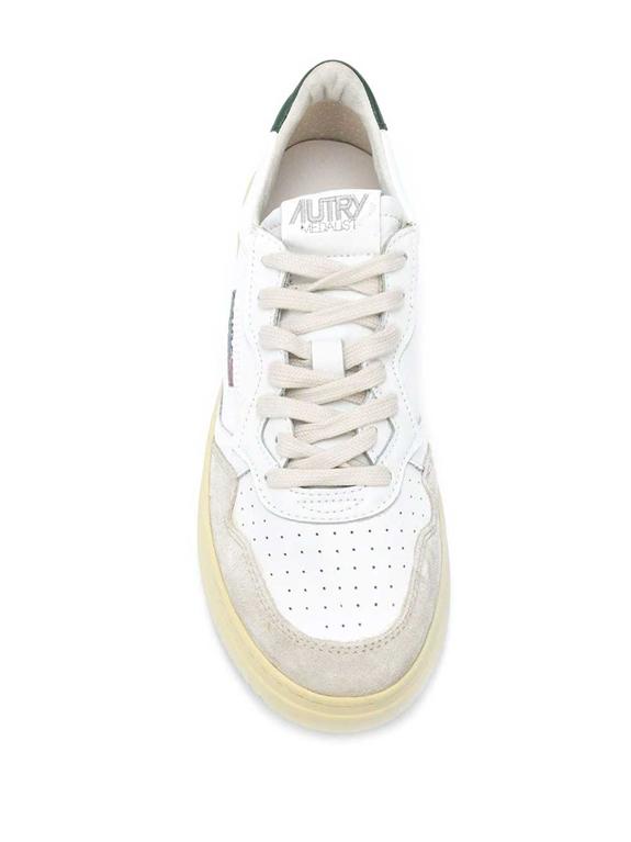 Autry - Scarpe - Sneakers - low leat suede bianca-verde 1