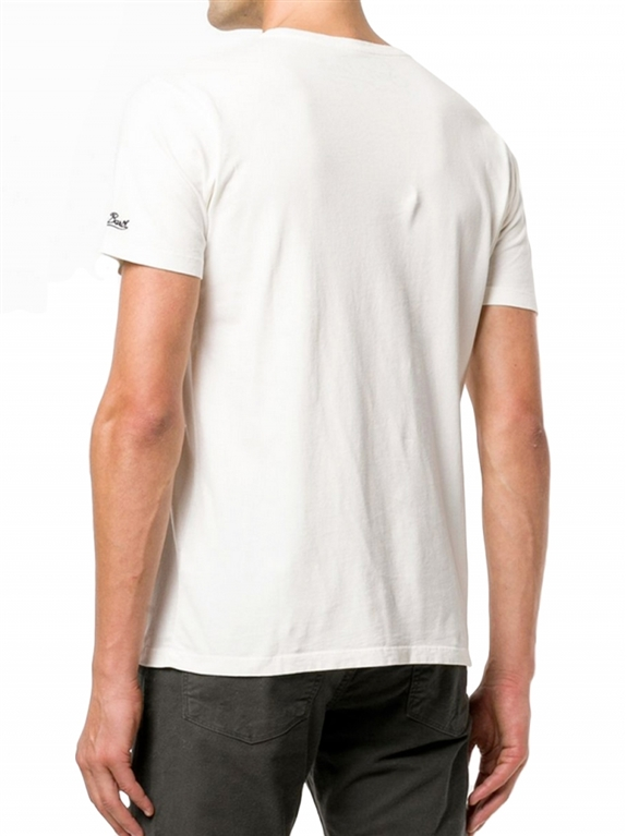 Mc2 Saint Barth - T-Shirt - t-shirt bianca stampa bombardino & slittino rossa 1