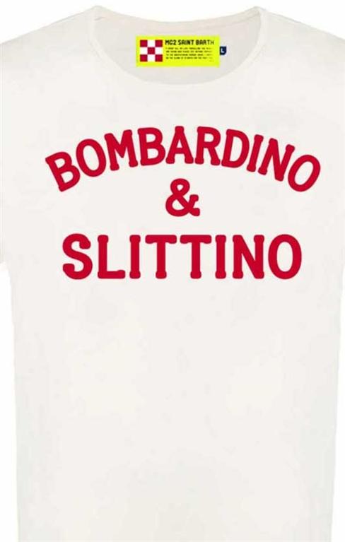 Mc2 Saint Barth - T-Shirt - t-shirt bianca stampa bombardino & slittino rossa 2