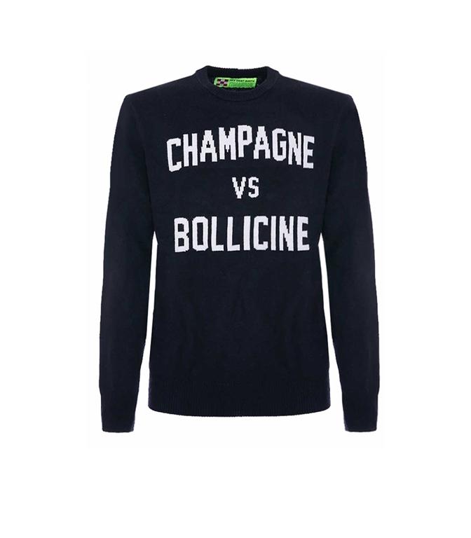 Mc2 Saint Barth - Maglie - maglione blu navy stampa champagne vs bollicine