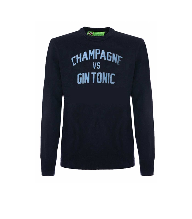 Mc2 Saint Barth - Maglie - maglione blu navy stampa champagne vs gin tonic