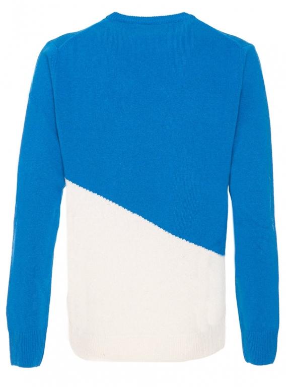 Mc2 Saint Barth - Maglie - maglione bluette e bianco stampa courmayeur postcard 1