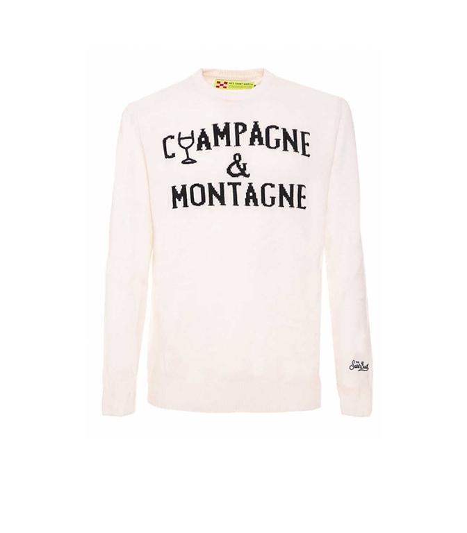 Mc2 Saint Barth - Maglie - MAGLIONE BIANCO RICAMO CHAMPAGNE & MONTAGNE