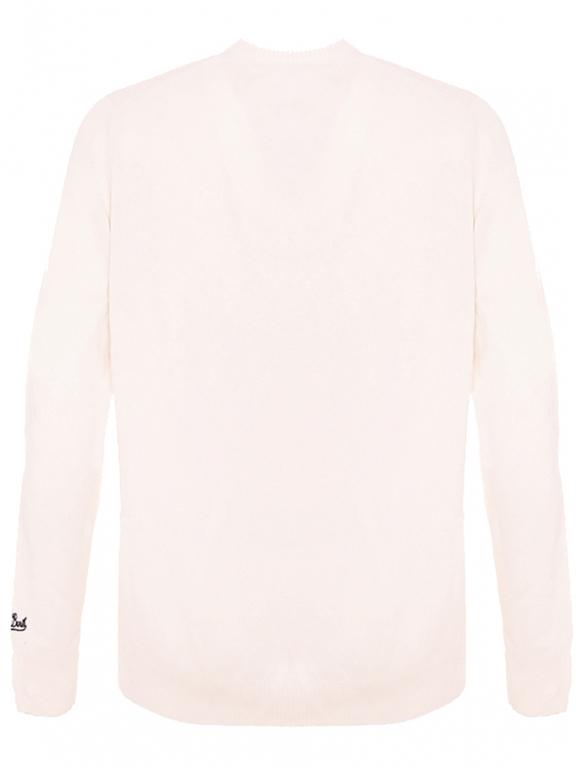 Mc2 Saint Barth - Maglie - maglione bianco ricamo champagne & montagne 1