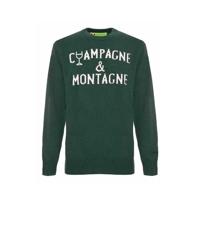 Mc2 Saint Barth - Maglie - MAGLIONE VERDE RICAMO CHAMPAGNE & MONTAGNE