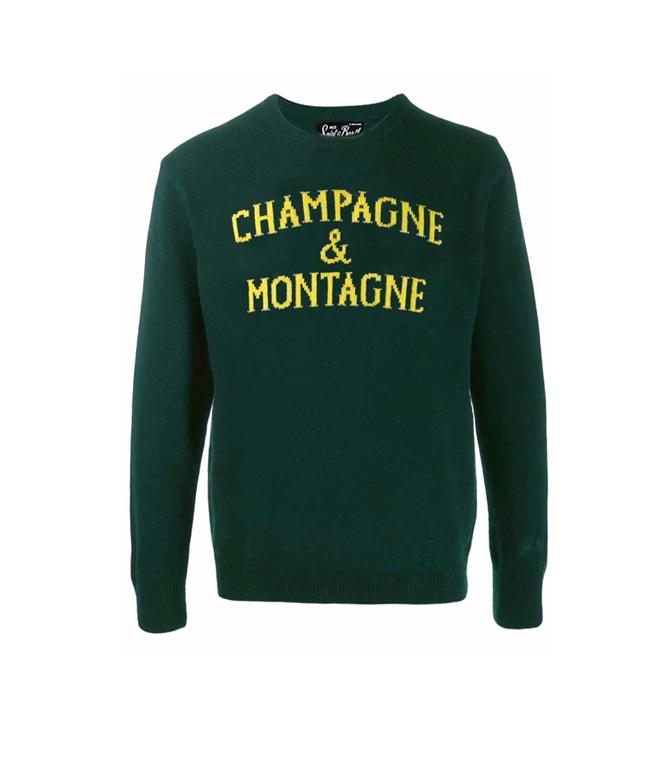 Mc2 Saint Barth - Maglie - MAGLIONE UOMO CHAMPAGNE & MONTAGNE VERDE
