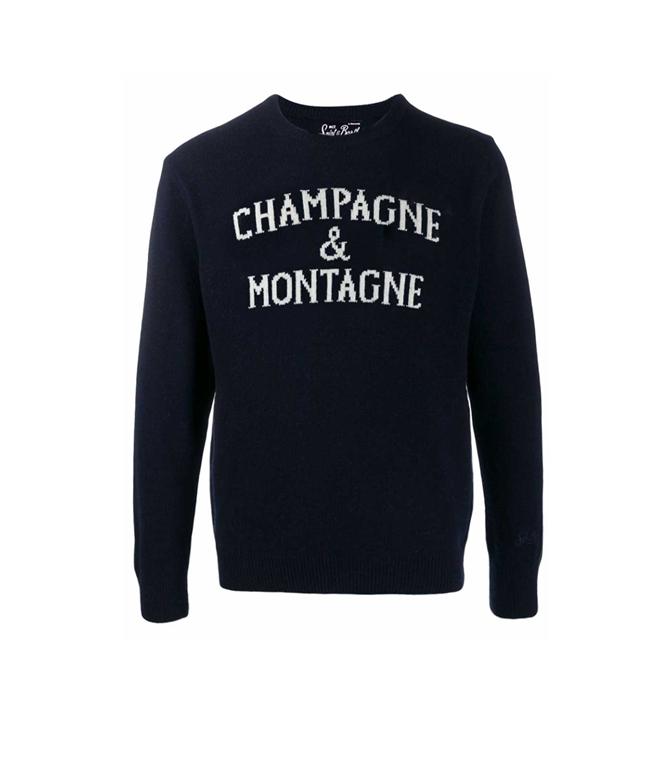 Mc2 Saint Barth - Maglie - MAGLIONE UOMO CHAMPAGNE & MONTAGNE BLU