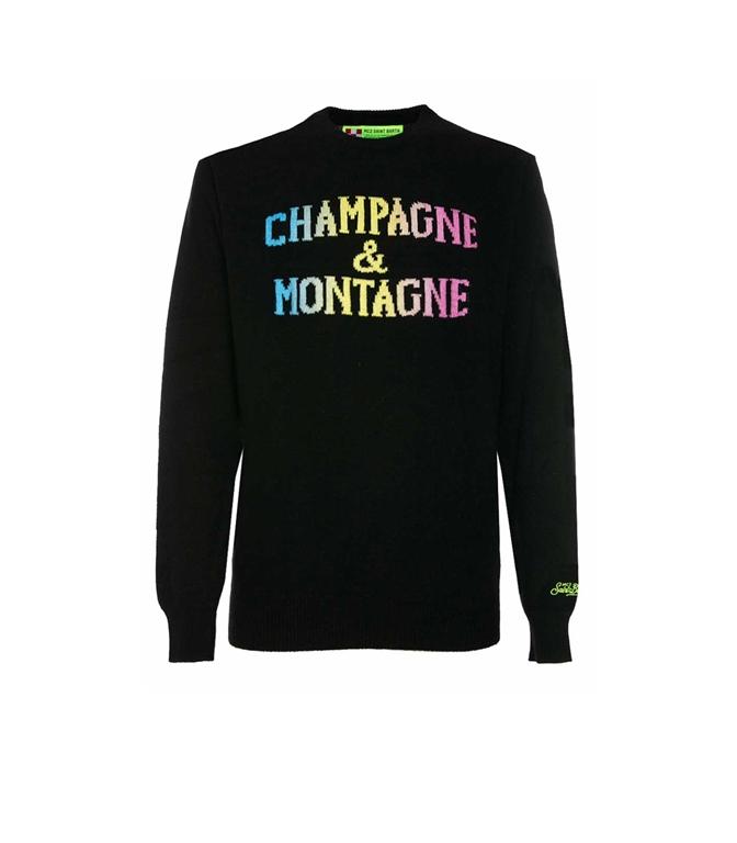 Mc2 Saint Barth - Maglie - maglione nero stampa champagne & montagne degrade