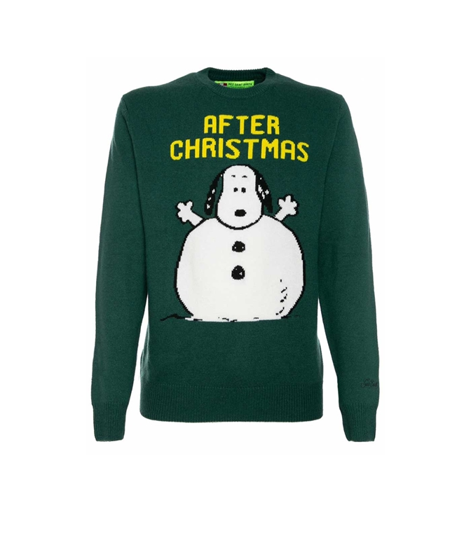 Mc2 Saint Barth - Maglie - MAGLIONE VERDE STAMPA SNOOPY AFTER XMAS®
