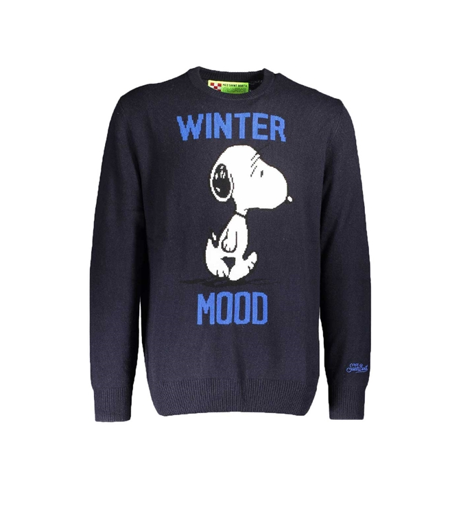 Mc2 Saint Barth - Maglie - MAGLIONE BLU STAMPA WINTER MOOD