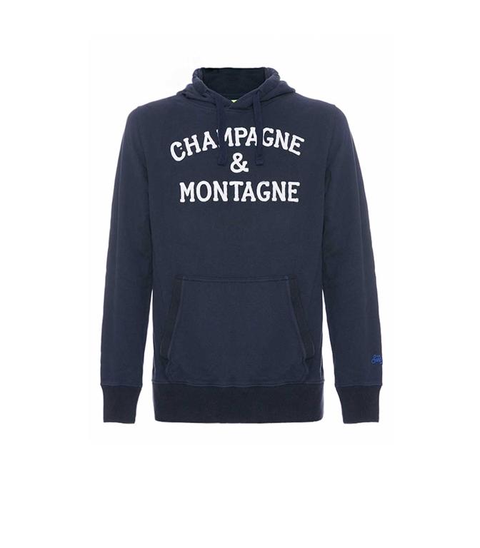Mc2 Saint Barth - Felpe - FELPA CON CAPPUCCIO BLU NAVY RICAMO CHAMPAGNE & MONTAGNE