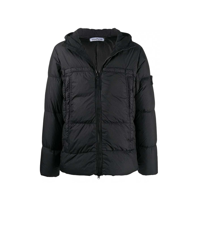 Stone Island - Giubbotti - giubbotto vera piuma garment-dyed nero