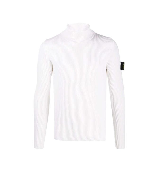 Stone Island - Maglie - maglione collo alto bianco