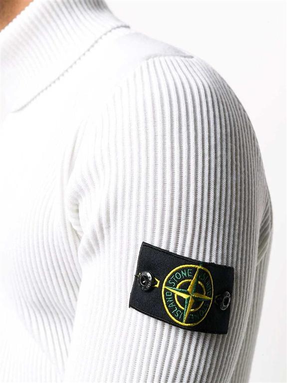Stone Island - Maglie - maglione collo alto bianco 1