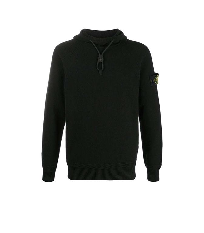 Stone Island - Maglie - maglia lana nera