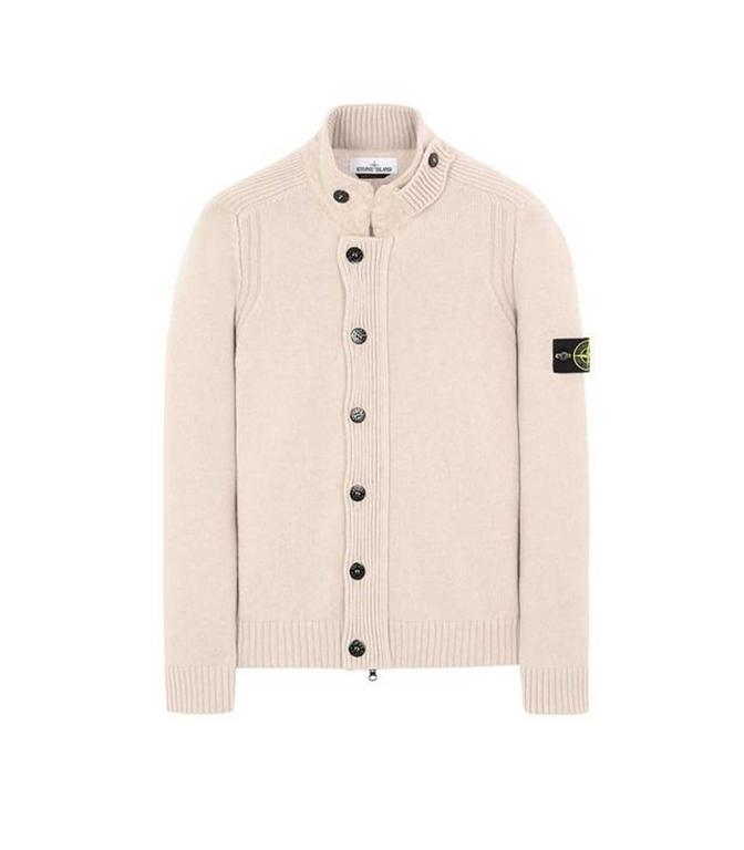Stone Island - Maglie - cardigan lana panna
