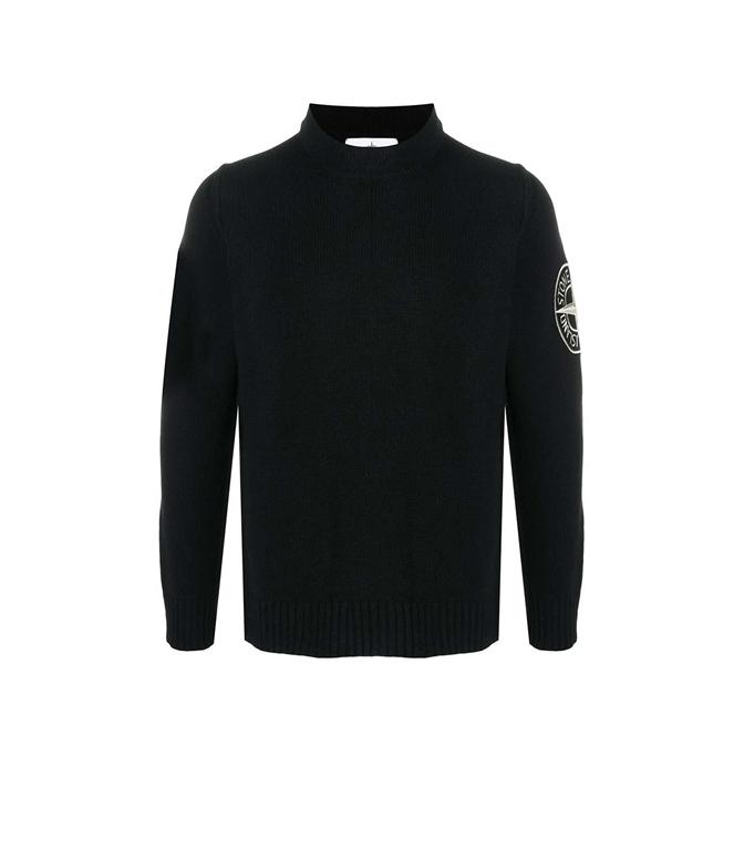 Stone Island - Maglie - maglione lana nero
