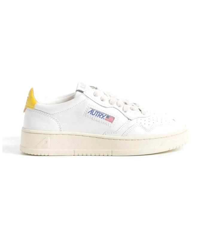 Autry - Scarpe - Sneakers - AUTRY SNEAKERS MEDALIST LOW IN PELLE BIANCO GIALLO