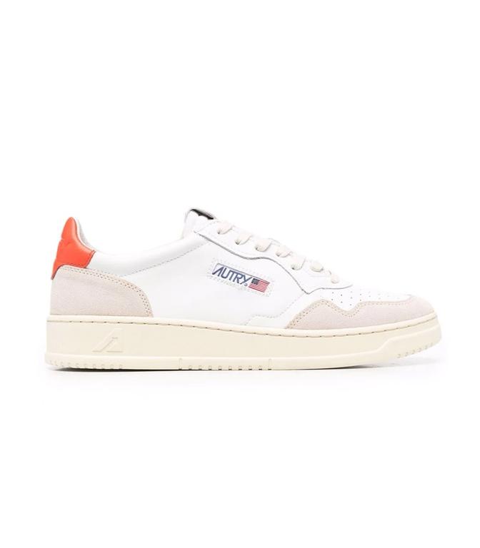 Autry - Scarpe - Sneakers - AUTRY SNEAKERS MEDALIST LOW IN PELLE E SUEDE BIANCO ARANCIONE