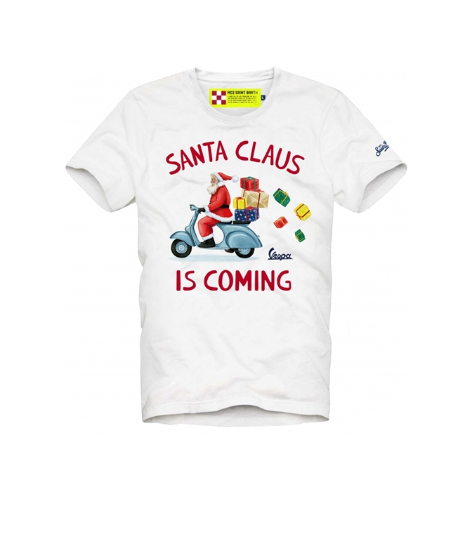Mc2 Saint Barth - T-Shirt - TSHIRT SANTA CLAUS IN VESPA BIANCO