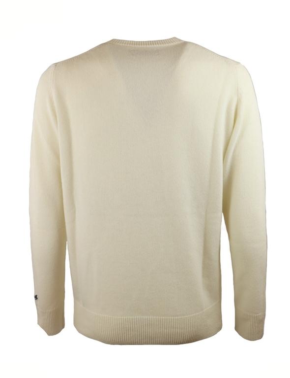 Mc2 Saint Barth - Maglie - maglione ciaspole e nuvole con stampa bianco panna 1