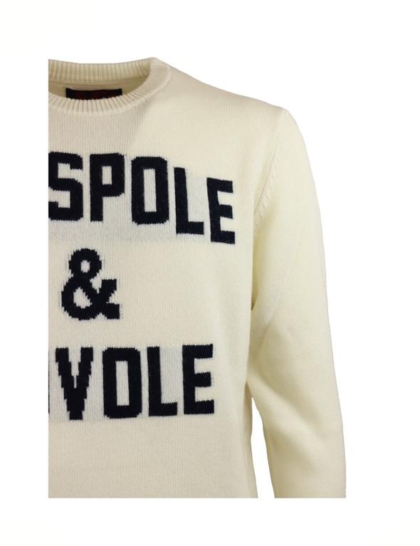 Mc2 Saint Barth - Maglie - maglione ciaspole e nuvole con stampa bianco panna 2