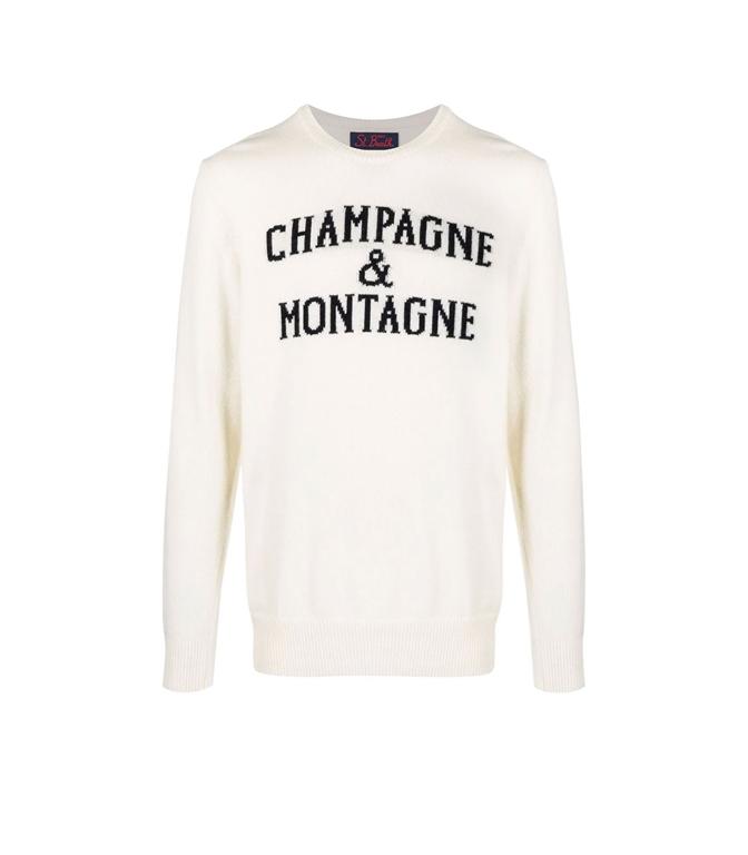 Mc2 Saint Barth - Maglie - MAGLIONE CHAMPAGNE E MONTAGNE CON STAMPA BIANCO