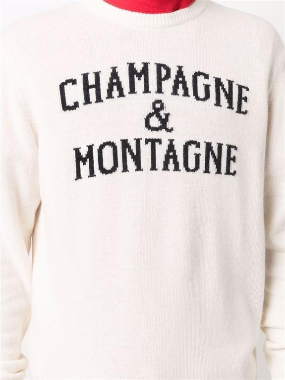Mc2 Saint Barth - Maglie - maglione champagne e montagne con stampa bianco 2