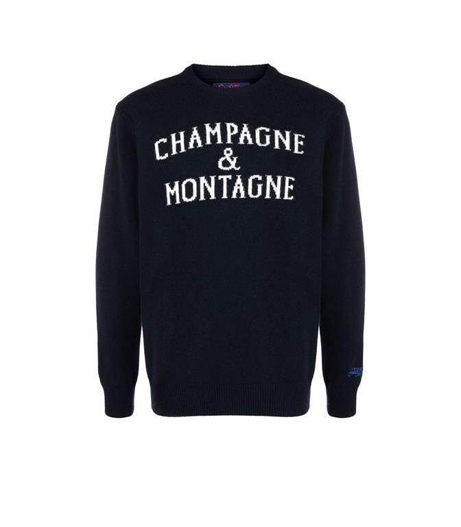 Mc2 Saint Barth - Maglie - maglione champagne e montagne con stampa blu