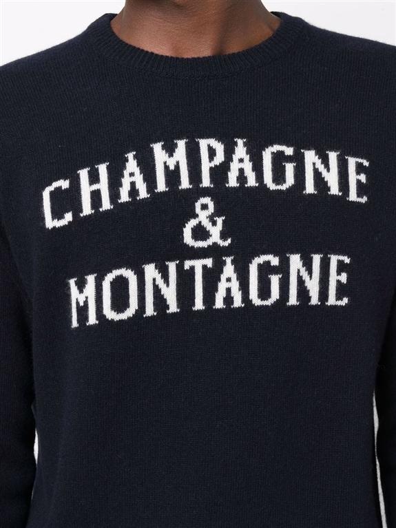 Mc2 Saint Barth - Maglie - maglione champagne e montagne con stampa blu 2