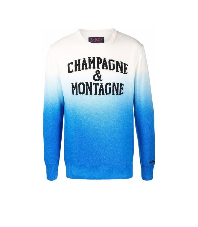 Mc2 Saint Barth - Maglie - MAGLIONE CHAMPAGNE E MONTAGNE CON STAMPA OMBRE' BIANCO BLU