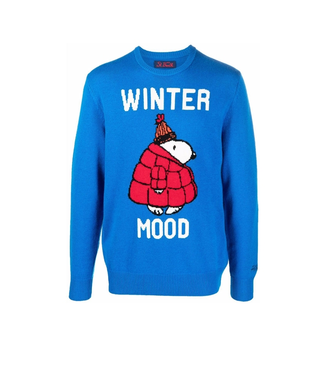 Mc2 Saint Barth - Maglie - maglione snoopy winter mood con stampa bluette