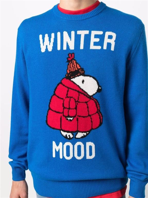 Mc2 Saint Barth - Maglie - maglione snoopy winter mood con stampa bluette 2