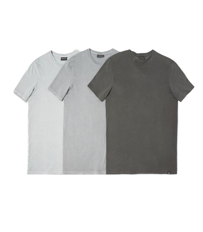 Emporio Armani - Saldi - set da 3 t-shirt in jersey di cotone grey