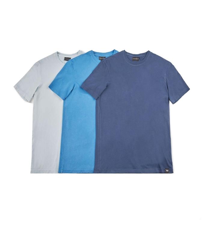 Emporio Armani - T-Shirt - SET DA 3 T-SHIRT IN JERSEY DI COTONE BLU