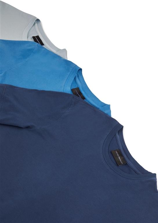 Emporio Armani - Saldi - set da 3 t-shirt in jersey di cotone blu 1