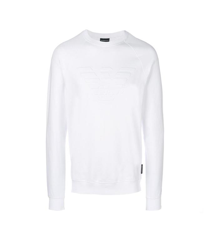 Emporio Armani - Felpe - felpa in cotone stretch con logo white