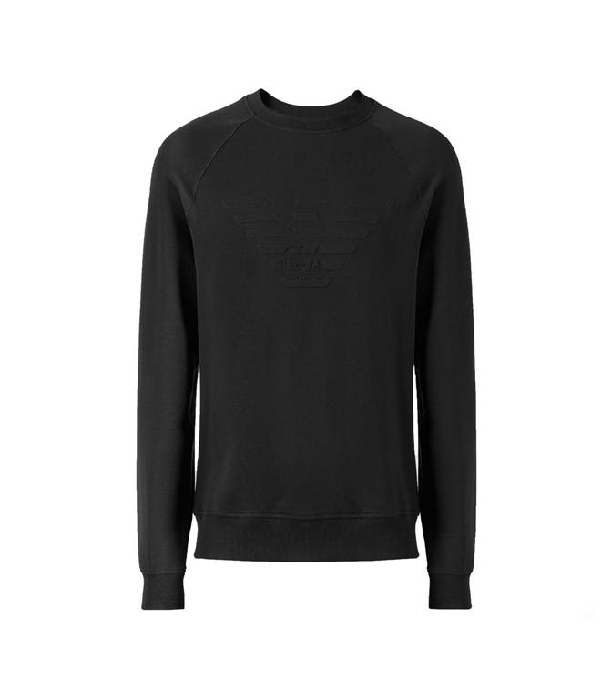 Emporio Armani - Saldi - felpa in cotone stretch con logo black