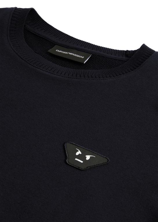Emporio Armani - Felpe - felpa con patch emoticons blu 1