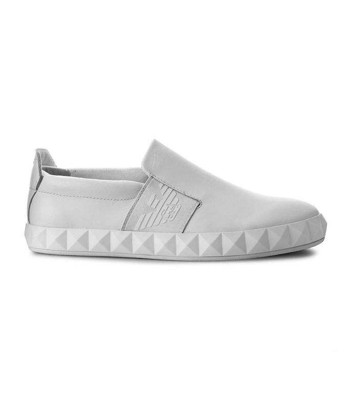 Emporio Armani - Scarpe - Sneakers - slip-on con logo laterale white